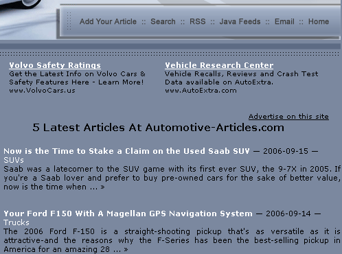 We have developed Article Manager Script for automotive-articles.com. It supports Categories, Free Article Submission, Search Engine Friendly URLs. JavaScript feeds and RSS feeds are available for content syndication. Script allows automatic posting of articles from articlemarketer.com