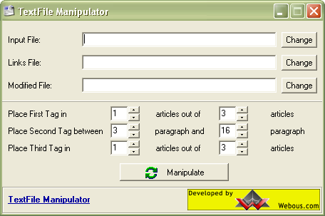 Windows Desktop Application that takes large file of articles (textual contents) and manipulates it in several ways: insert special tags based on configuration options, extracts links etc.
